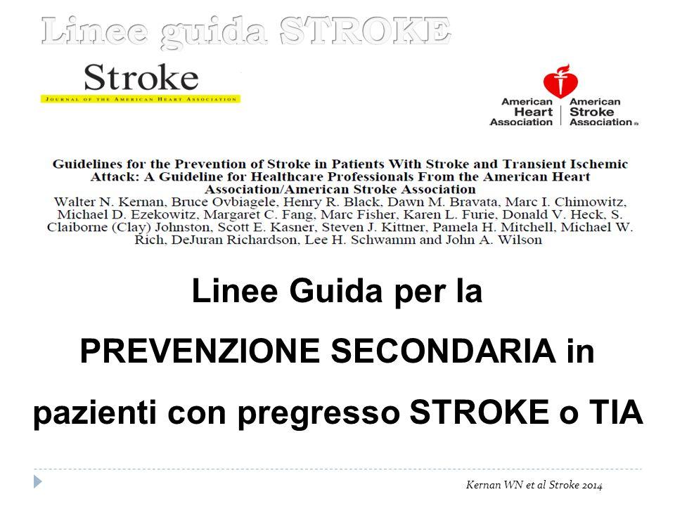 PREVENZIONE SECONDARIA in pazienti con pregresso STROKE o TIA
