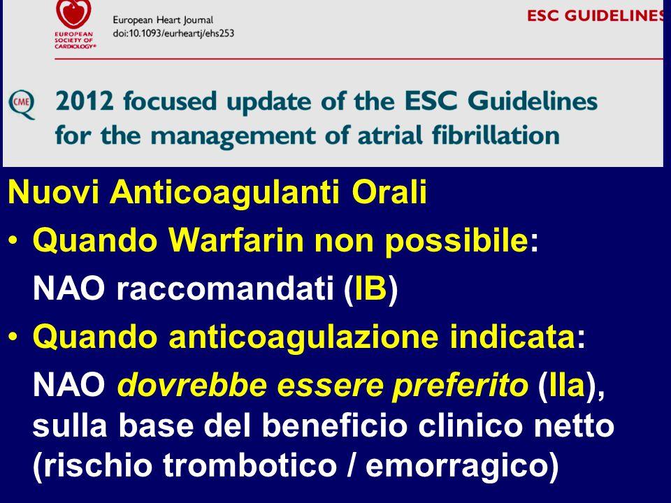 Nuovi Anticoagulanti Orali Quando Warfarin non possibile: