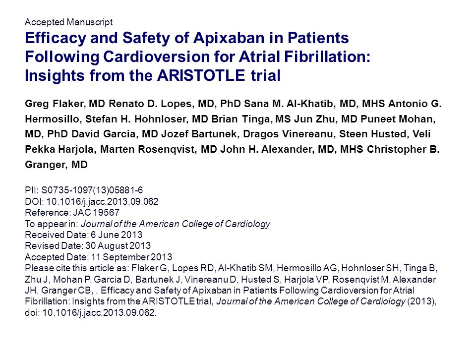Efficacy and Safety of Apixaban in Patients