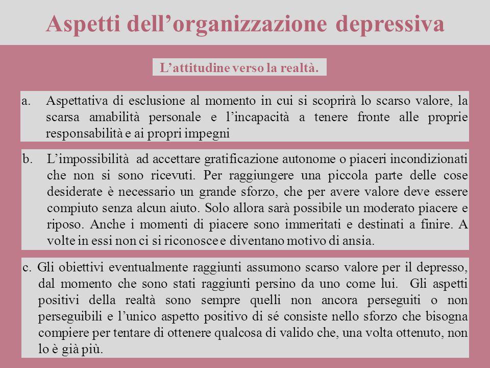 Aspetti dell'organizzazione depressiva L'attitudine verso la realtà.