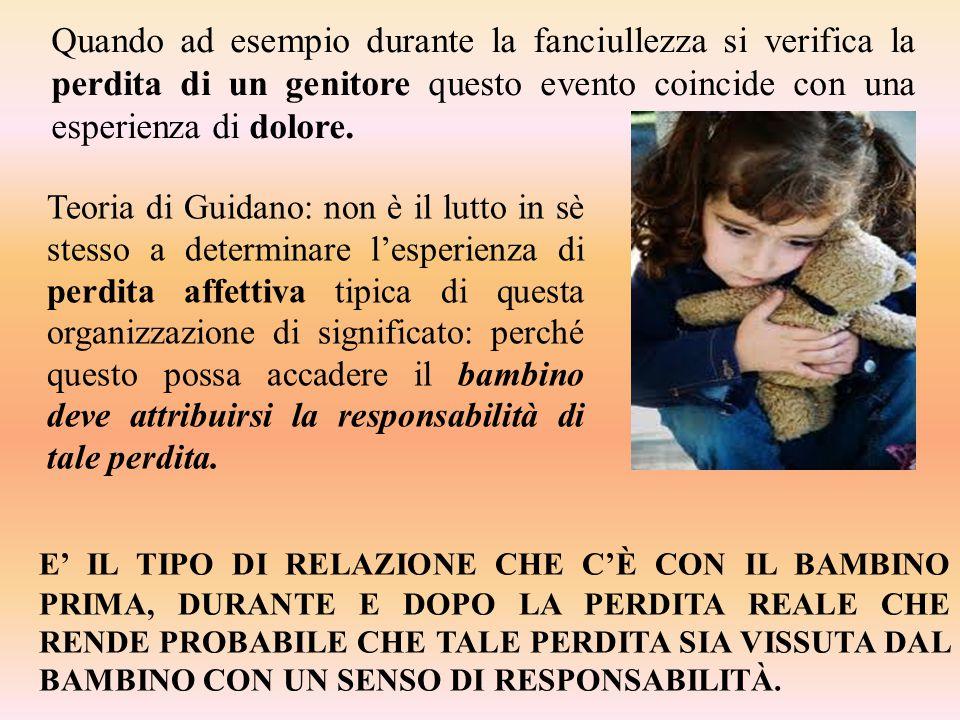 Quando ad esempio durante la fanciullezza si verifica la perdita di un genitore questo evento coincide con una esperienza di dolore.