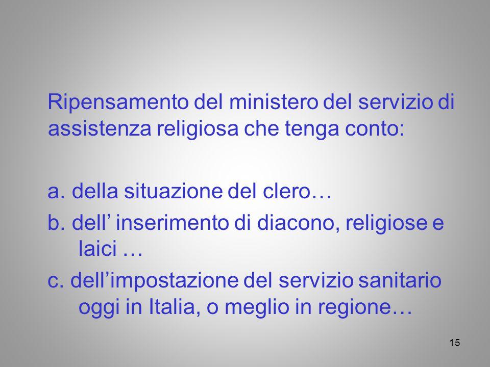 Ripensamento del ministero del servizio di assistenza religiosa che tenga conto: