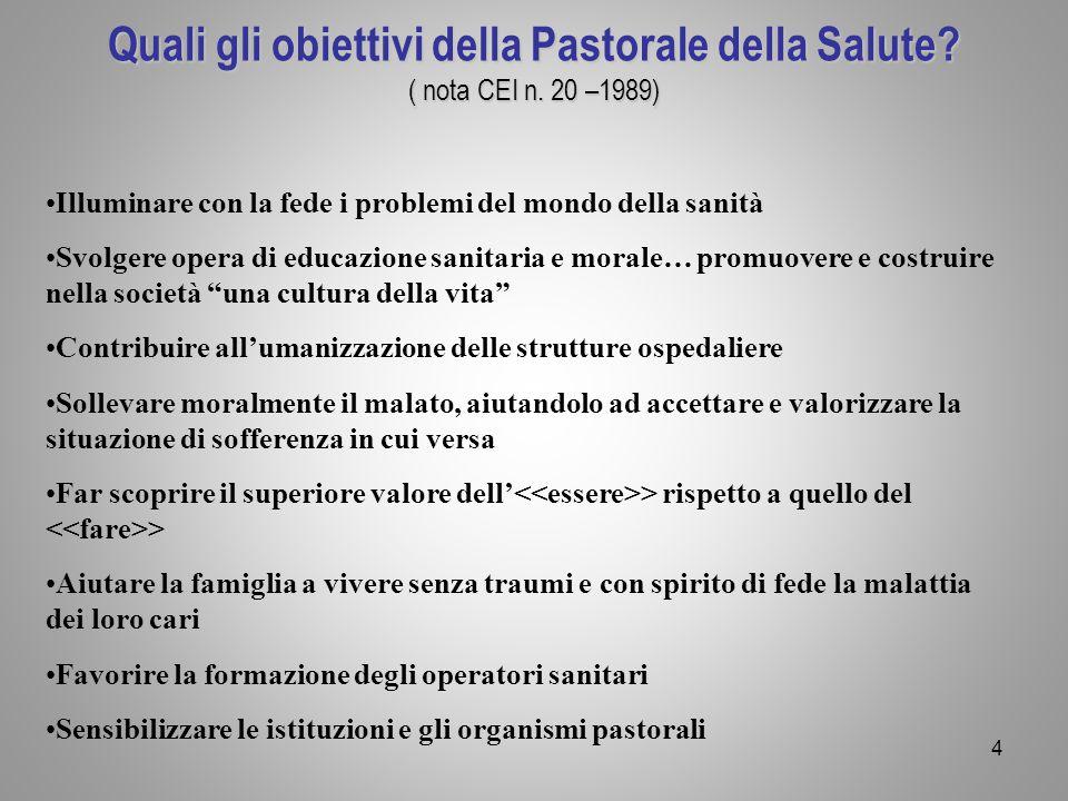 Quali gli obiettivi della Pastorale della Salute. ( nota CEI n