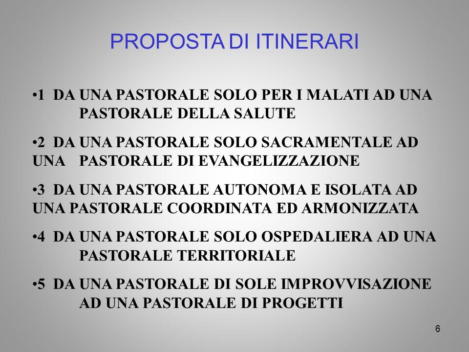 PROPOSTA DI ITINERARI 1 DA UNA PASTORALE SOLO PER I MALATI AD UNA PASTORALE DELLA SALUTE.