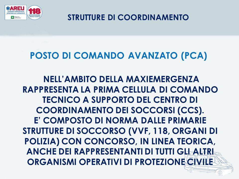 STRUTTURE DI COORDINAMENTO POSTO DI COMANDO AVANZATO (PCA)