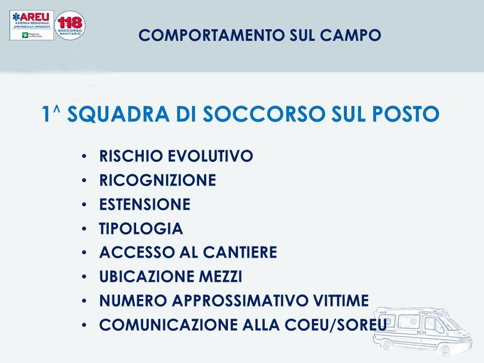 COMPORTAMENTO SUL CAMPO 1^ SQUADRA DI SOCCORSO SUL POSTO