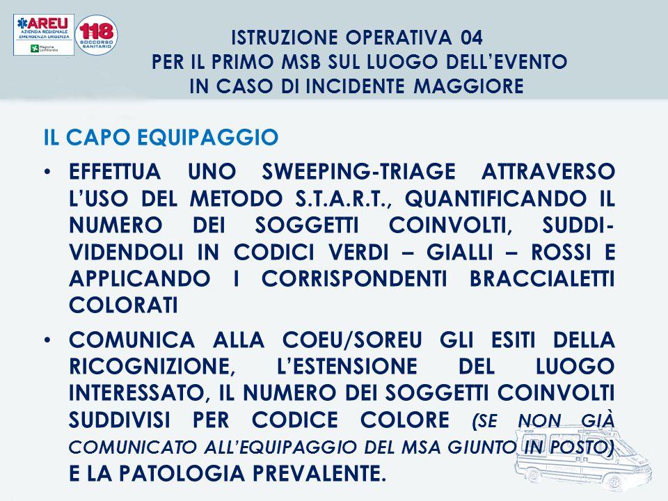 ISTRUZIONE OPERATIVA 04 PER IL PRIMO MSB SUL LUOGO DELL'EVENTO IN CASO DI INCIDENTE MAGGIORE