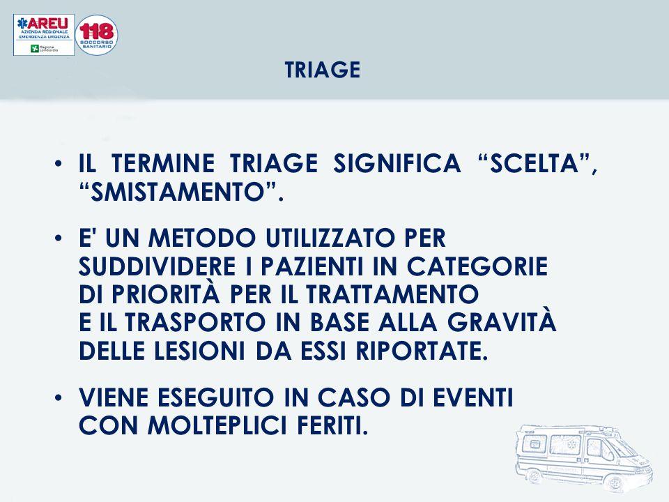 IL TERMINE TRIAGE SIGNIFICA SCELTA , SMISTAMENTO .
