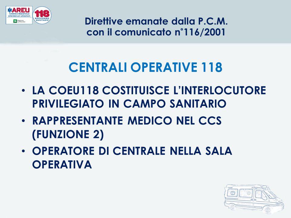 Direttive emanate dalla P.C.M. con il comunicato n°116/2001