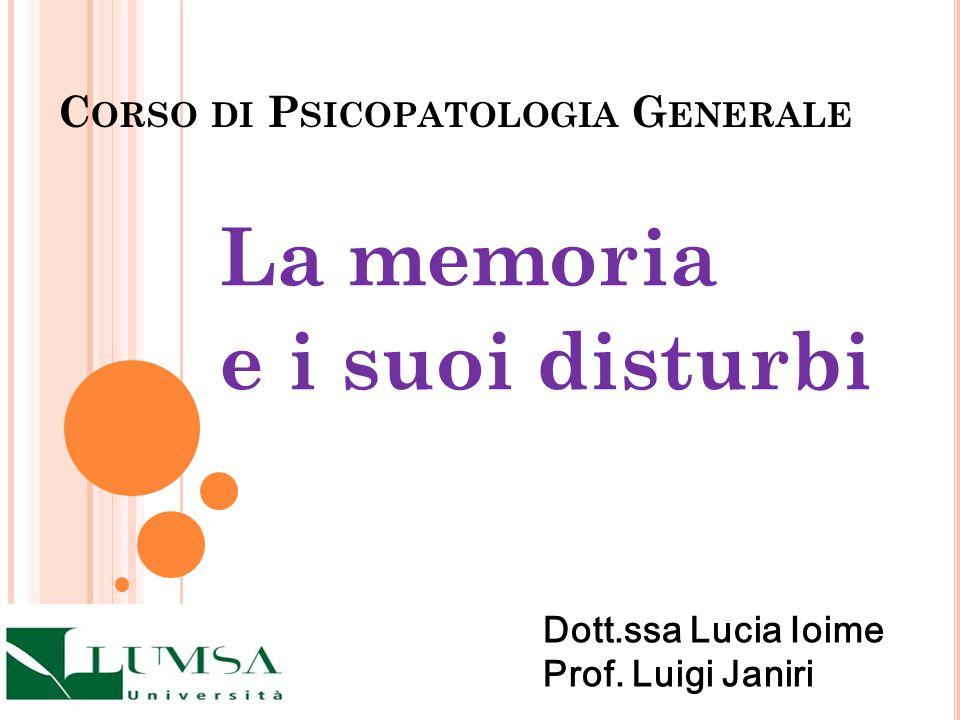 Corso di Psicopatologia Generale