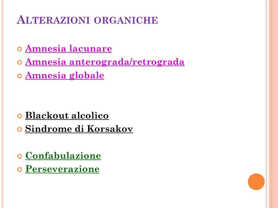 Alterazioni organiche