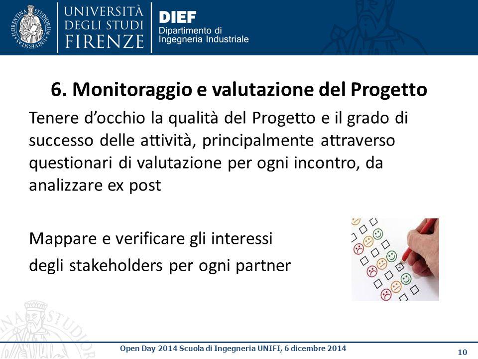 6. Monitoraggio e valutazione del Progetto