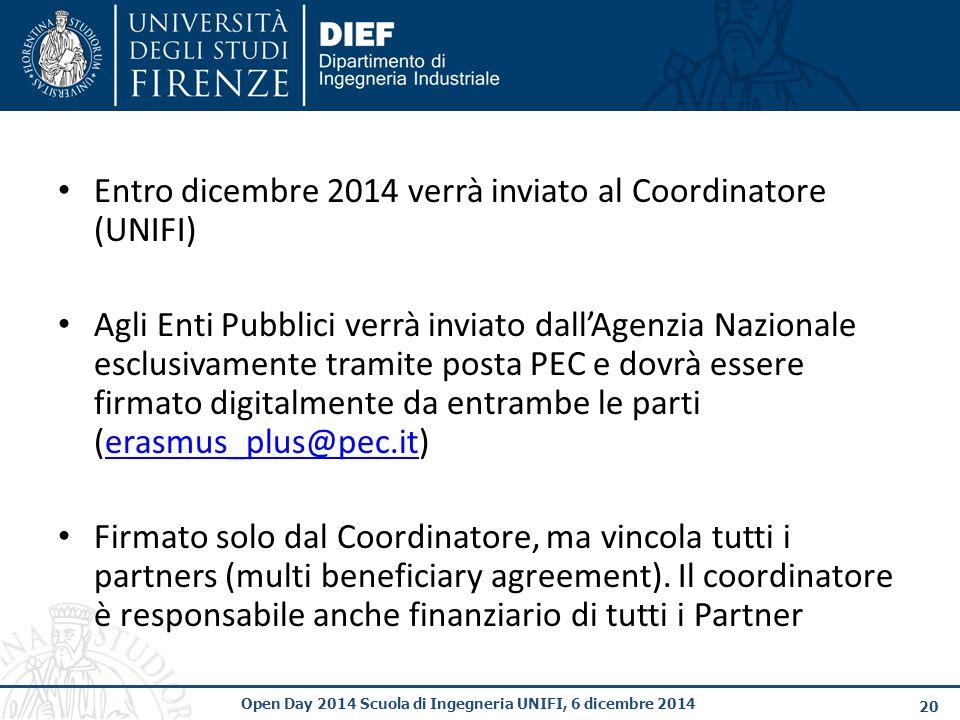 Entro dicembre 2014 verrà inviato al Coordinatore (UNIFI)