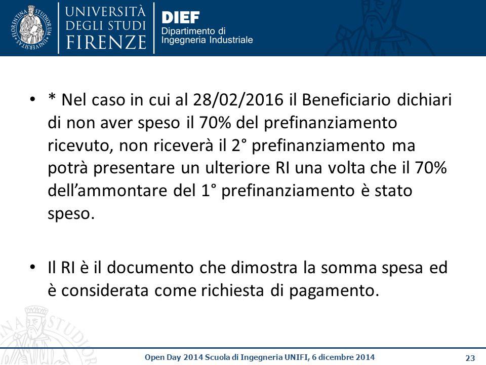 * Nel caso in cui al 28/02/2016 il Beneficiario dichiari di non aver speso il 70% del prefinanziamento ricevuto, non riceverà il 2° prefinanziamento ma potrà presentare un ulteriore RI una volta che il 70% dell'ammontare del 1° prefinanziamento è stato speso.