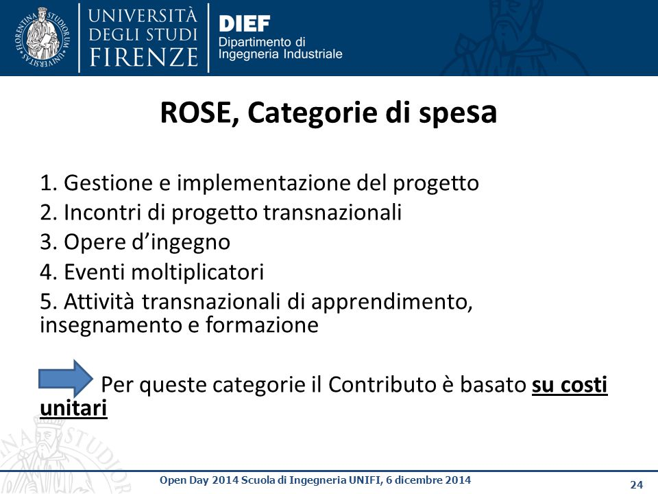 ROSE, Categorie di spesa