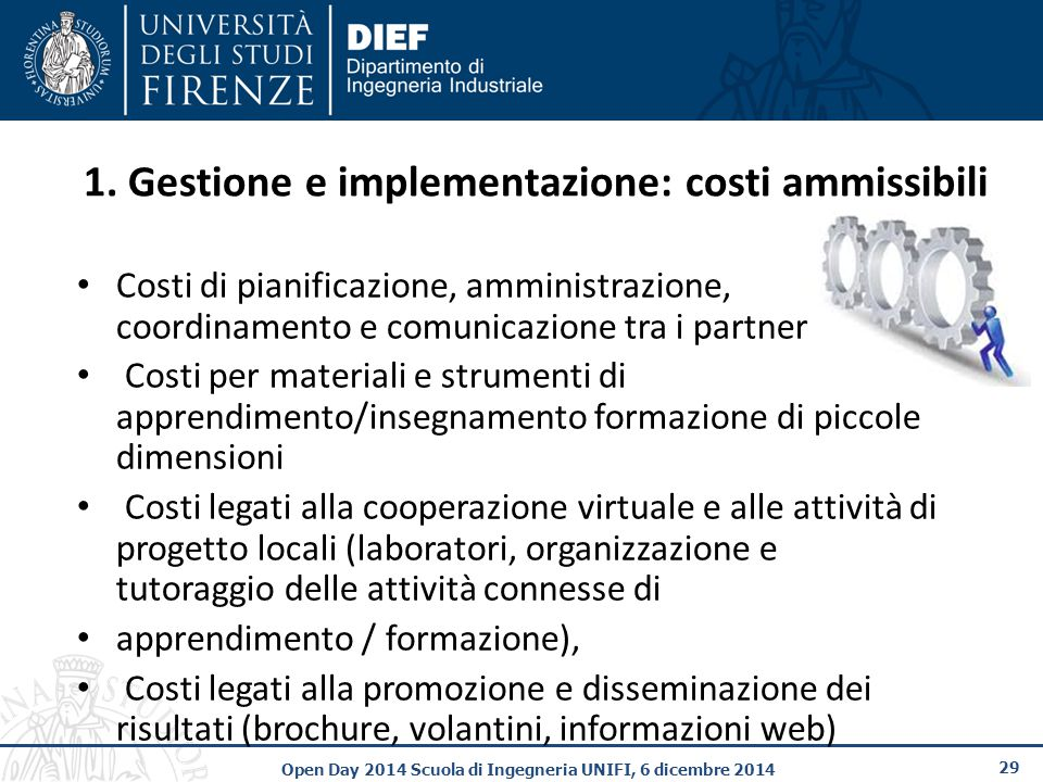 1. Gestione e implementazione: costi ammissibili