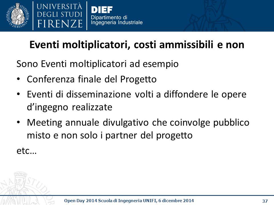 Eventi moltiplicatori, costi ammissibili e non