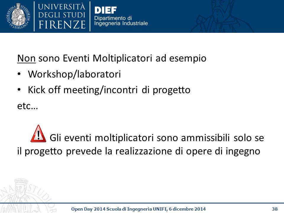 Non sono Eventi Moltiplicatori ad esempio Workshop/laboratori