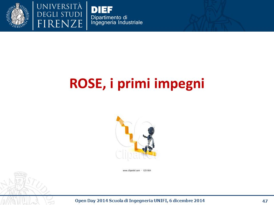 ROSE, i primi impegni Open Day 2014 Scuola di Ingegneria UNIFI, 6 dicembre 2014