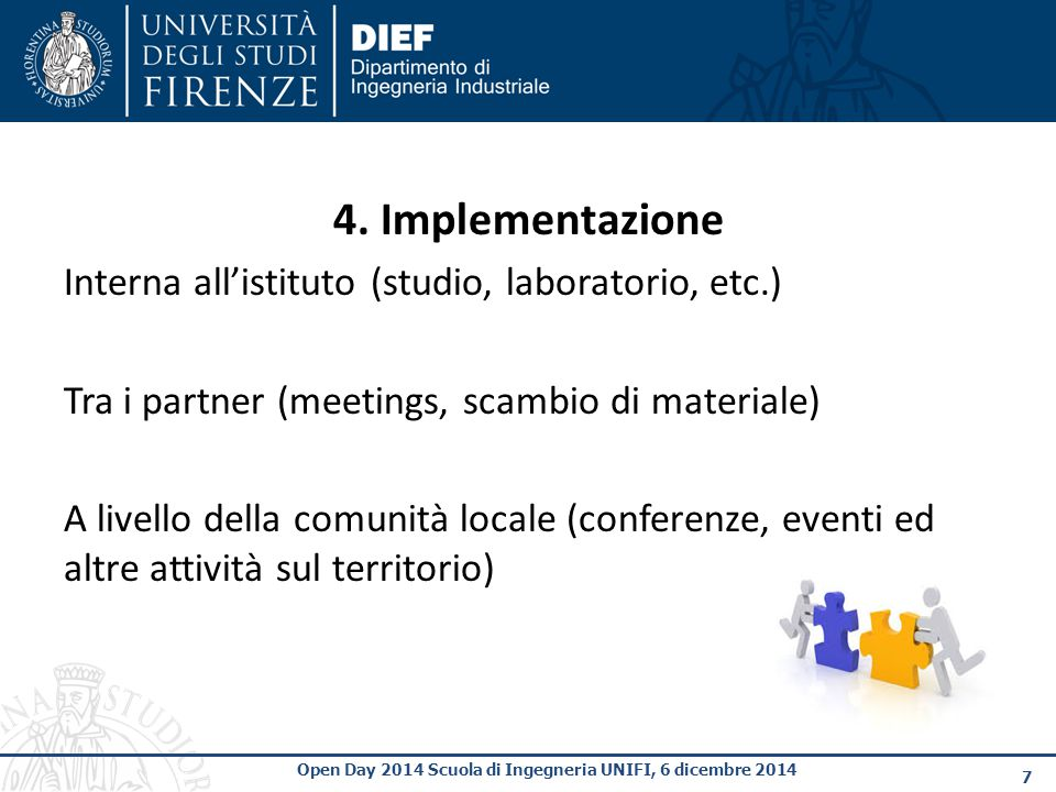4. Implementazione Interna all'istituto (studio, laboratorio, etc.)