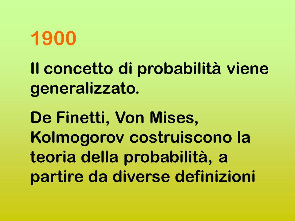 1900 Il concetto di probabilità viene generalizzato.