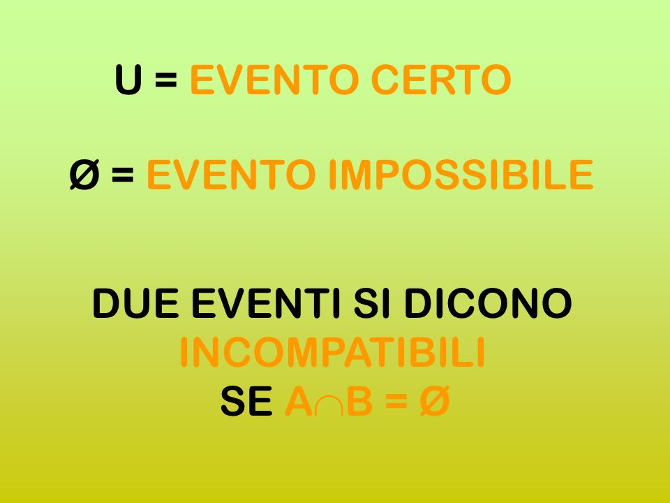 U = EVENTO CERTO Ø = EVENTO IMPOSSIBILE.