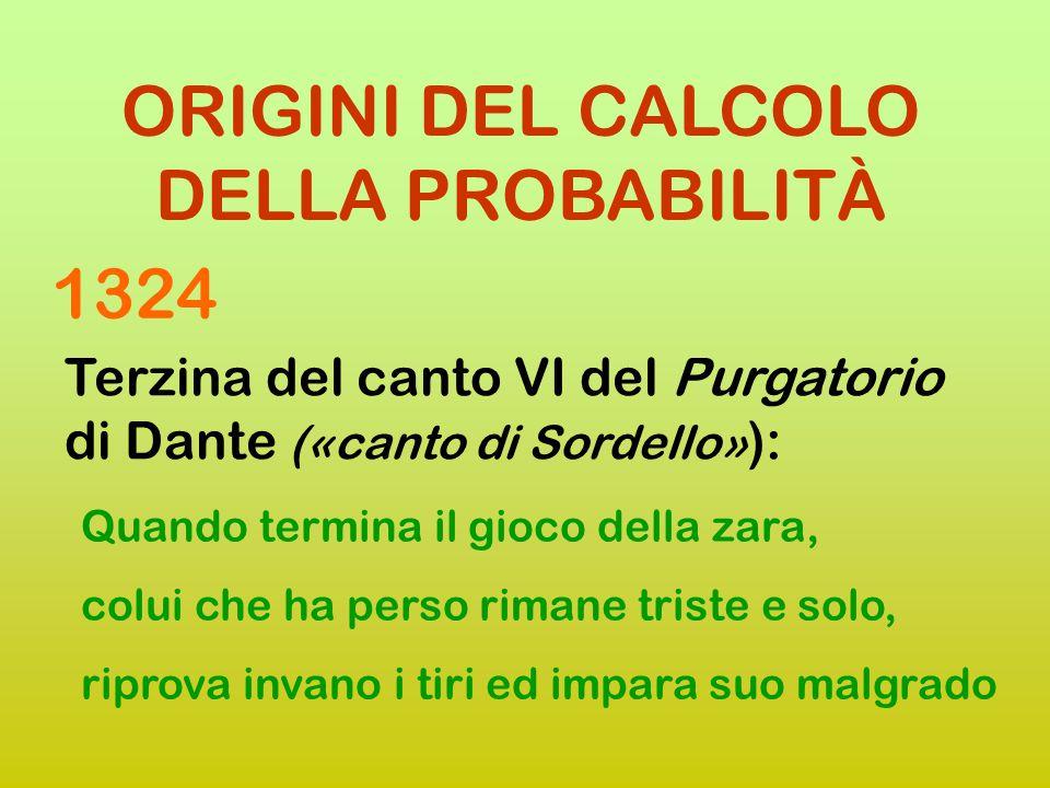 ORIGINI DEL CALCOLO DELLA PROBABILITÀ