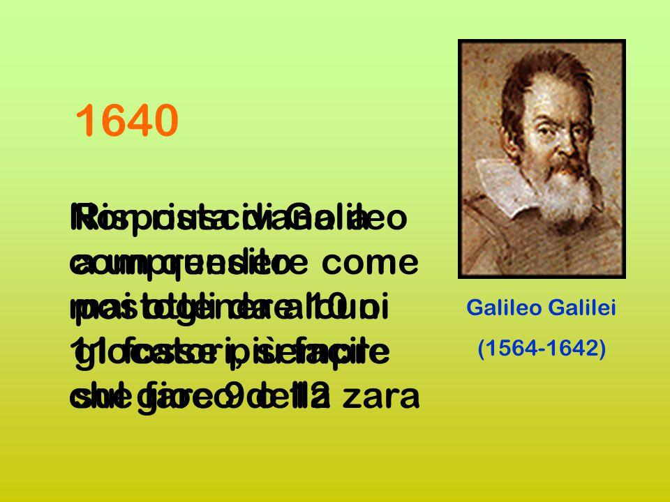 1640 Non riuscivano a comprendere come mai ottenere 10 o 11 fosse più facile che fare 9 o 12.