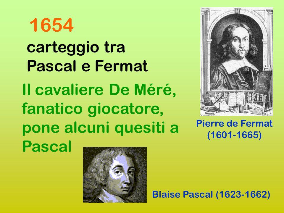1654 carteggio tra Pascal e Fermat