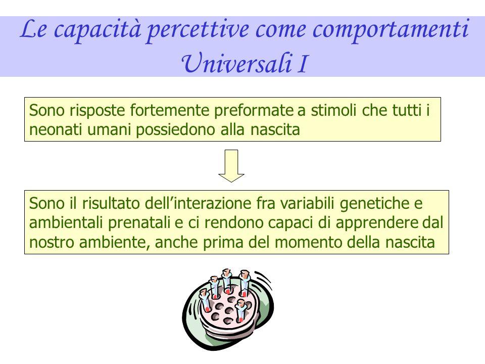 Le capacità percettive come comportamenti Universali I
