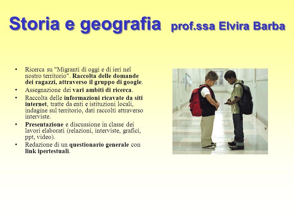 Storia e geografia prof.ssa Elvira Barba