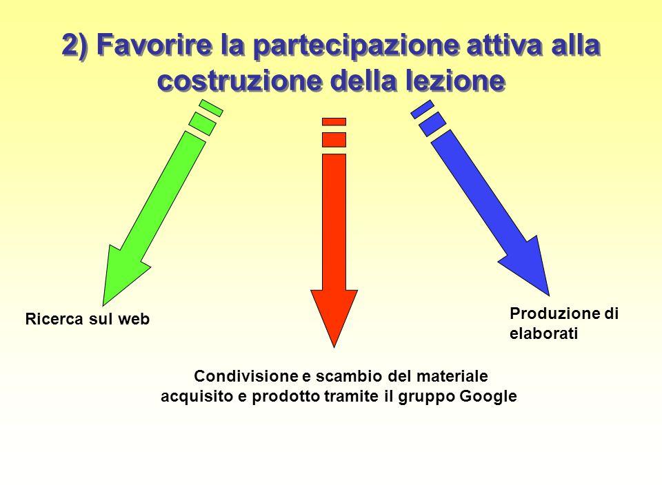 2) Favorire la partecipazione attiva alla costruzione della lezione