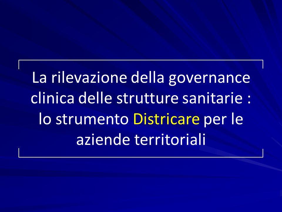 La rilevazione della governance clinica delle strutture sanitarie : lo strumento Districare per le aziende territoriali