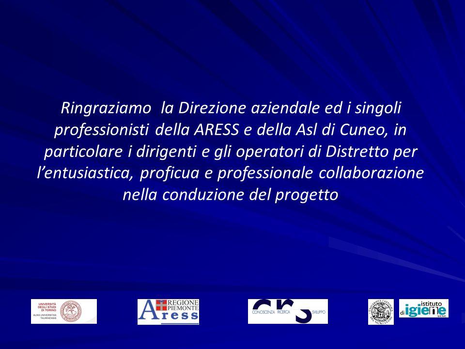 Ringraziamo la Direzione aziendale ed i singoli professionisti della ARESS e della Asl di Cuneo, in particolare i dirigenti e gli operatori di Distretto per l'entusiastica, proficua e professionale collaborazione nella conduzione del progetto