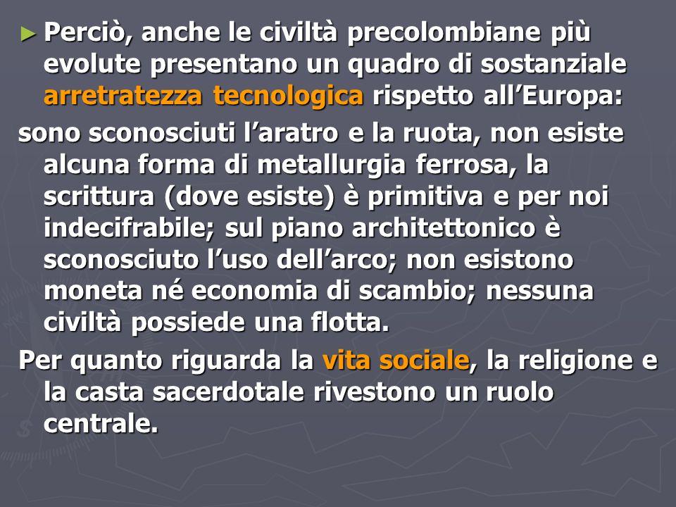 Perciò, anche le civiltà precolombiane più evolute presentano un quadro di sostanziale arretratezza tecnologica rispetto all'Europa: