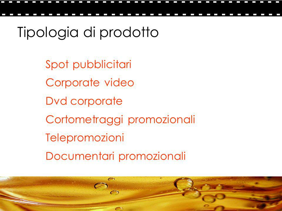 Tipologia di prodotto Spot pubblicitari Corporate video Dvd corporate