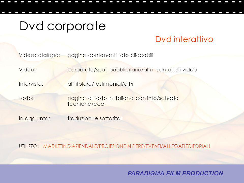 Dvd corporate Dvd interattivo