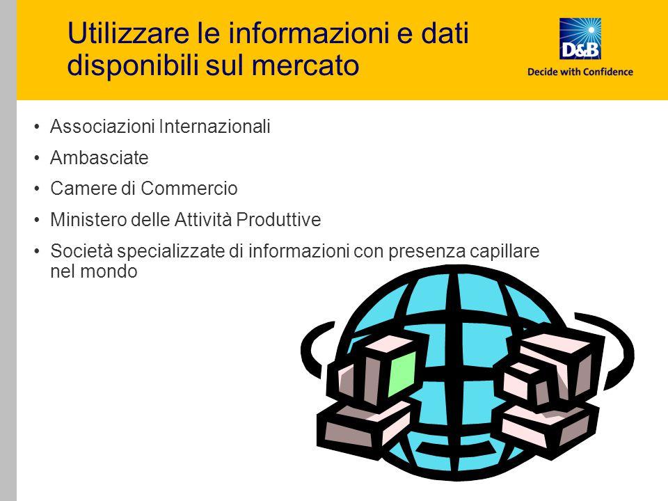 Utilizzare le informazioni e dati disponibili sul mercato