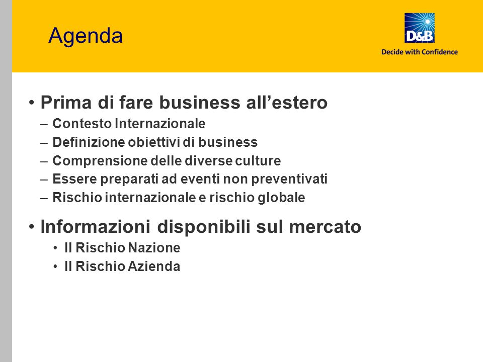 Agenda Prima di fare business all'estero