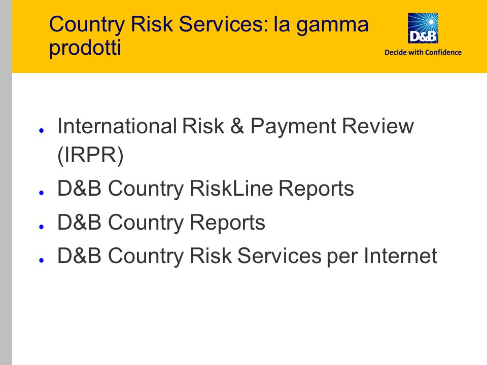 Country Risk Services: la gamma prodotti