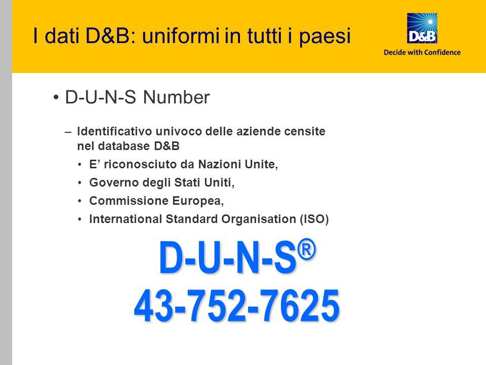 D-U-N-S® 43-752-7625 I dati D&B: uniformi in tutti i paesi
