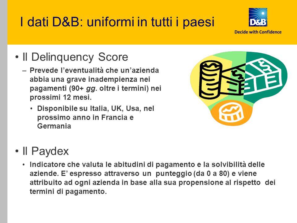 I dati D&B: uniformi in tutti i paesi
