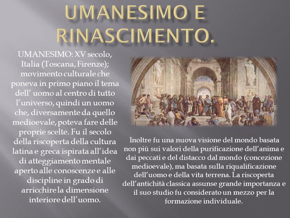 Umanesimo e Rinascimento.