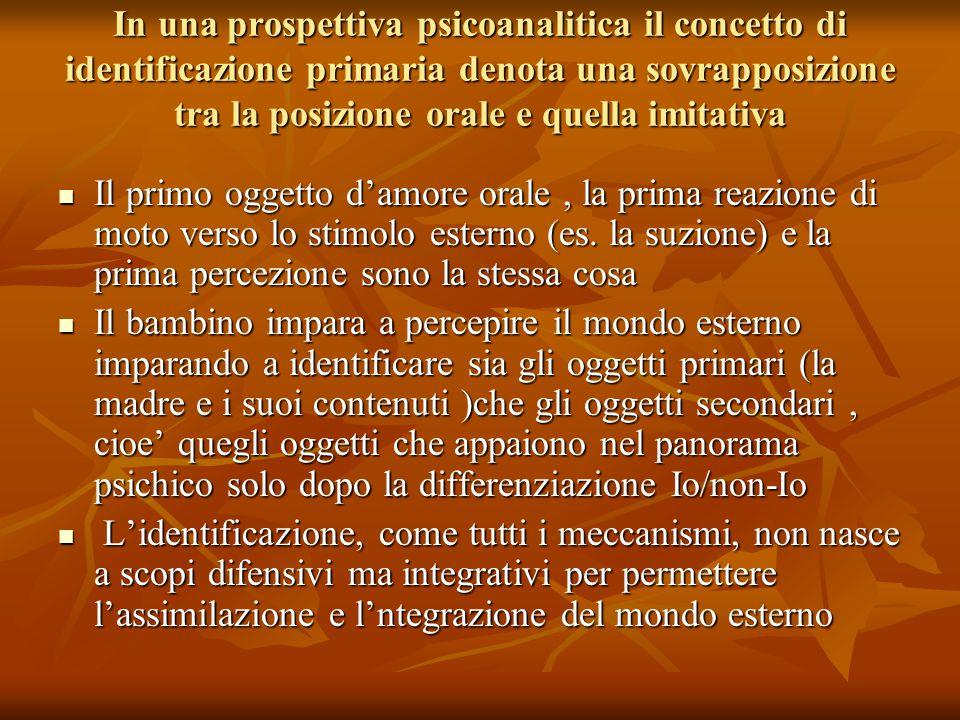 In una prospettiva psicoanalitica il concetto di identificazione primaria denota una sovrapposizione tra la posizione orale e quella imitativa