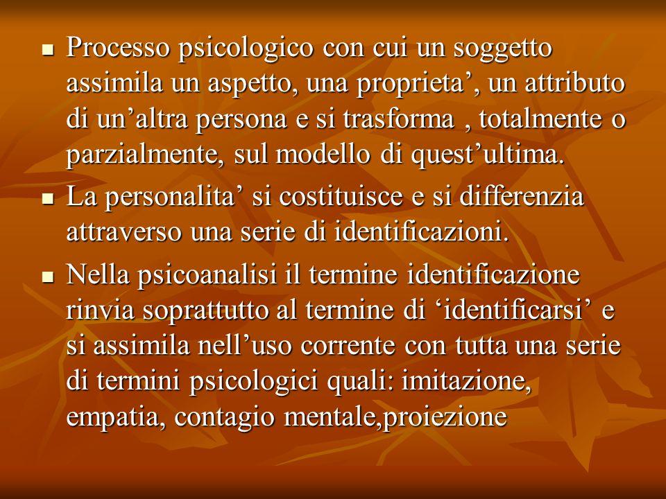Processo psicologico con cui un soggetto assimila un aspetto, una proprieta', un attributo di un'altra persona e si trasforma , totalmente o parzialmente, sul modello di quest'ultima.