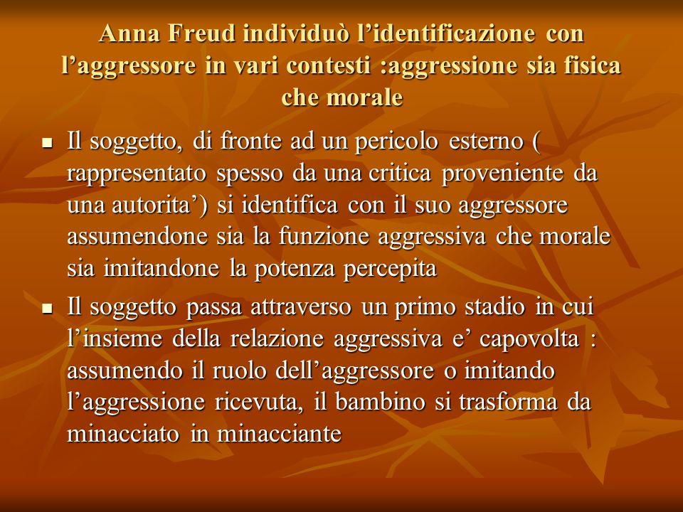 Anna Freud individuò l'identificazione con l'aggressore in vari contesti :aggressione sia fisica che morale