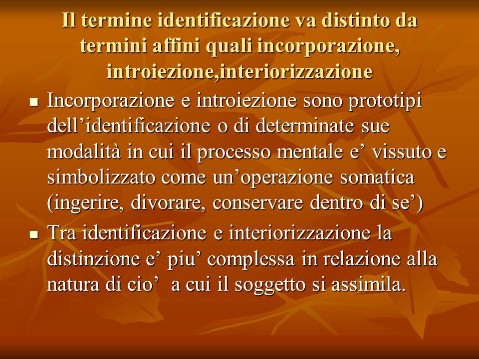 Il termine identificazione va distinto da termini affini quali incorporazione, introiezione,interiorizzazione