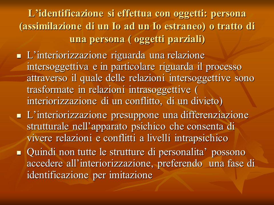 L'identificazione si effettua con oggetti: persona (assimilazione di un Io ad un Io estraneo) o tratto di una persona ( oggetti parziali)