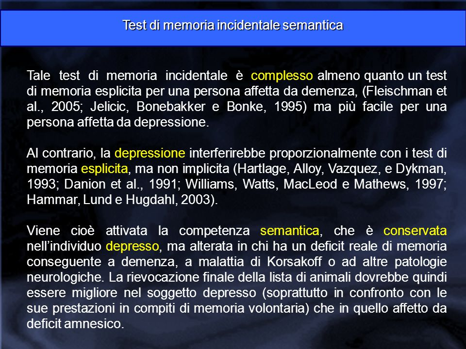 Test di memoria incidentale semantica