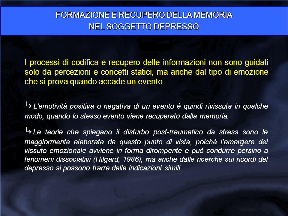 FORMAZIONE E RECUPERO DELLA MEMORIA